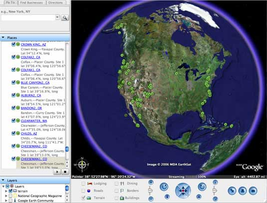 Google Earth globe showing CLAMP sites in North America