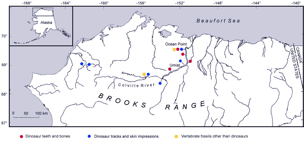 map of northern Alaska showing the locations of dinosaur bones and teeth, skin, trackways and other vertebrate remains.