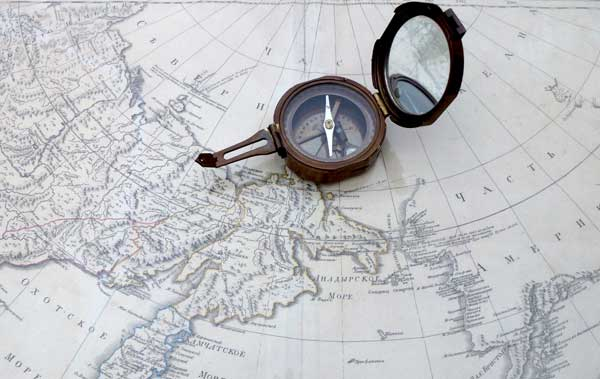 Photo of map and compass